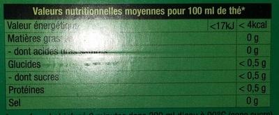 The vert classique - Informations nutritionnelles