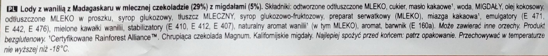 Ice cream with vanilla from Madagascar coated with milk chocolate (29%) and almonds (5%) - Składniki - pl