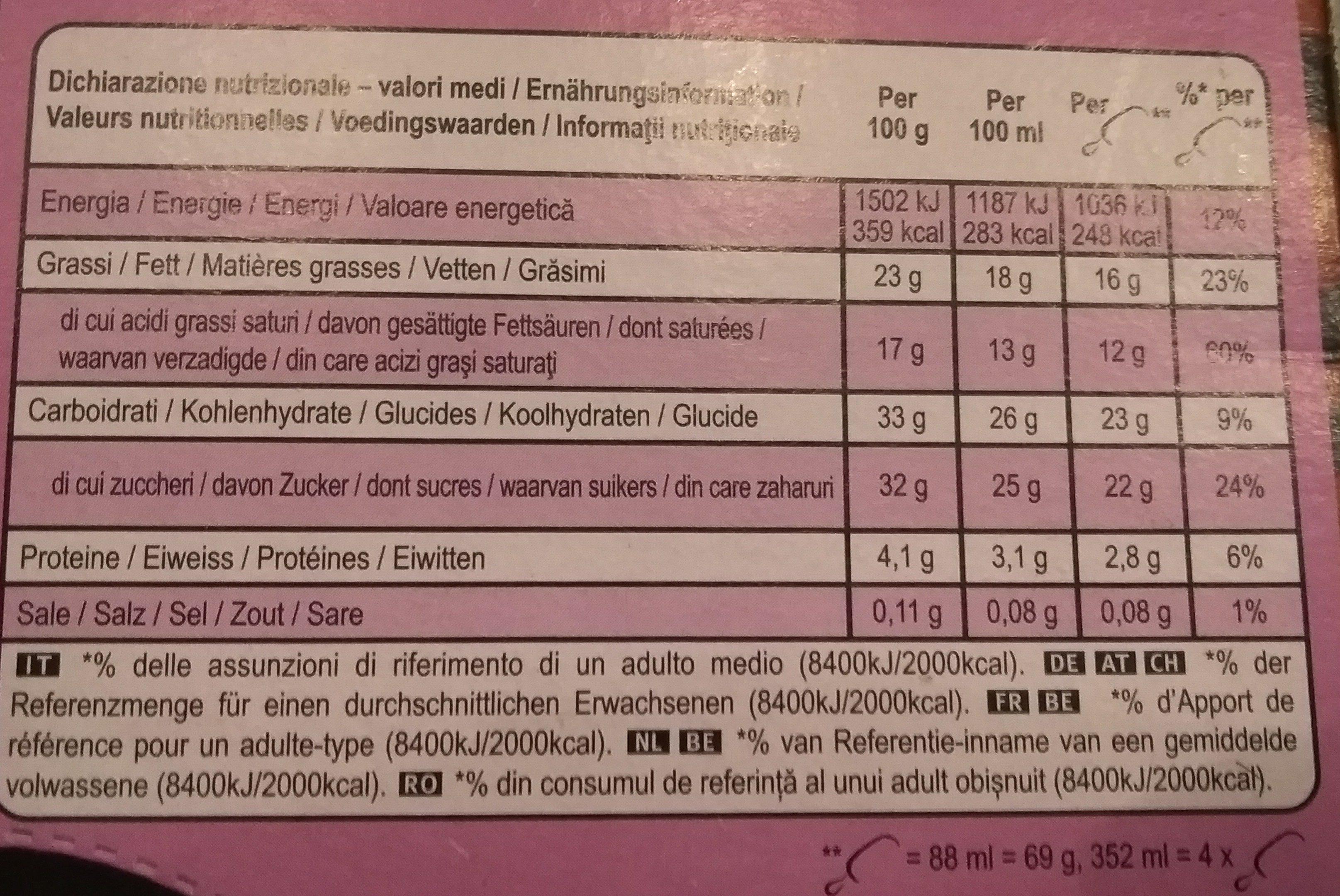 Magnum Batonnet Glace Double Chocolat x 4 352 ml - Voedingswaarden
