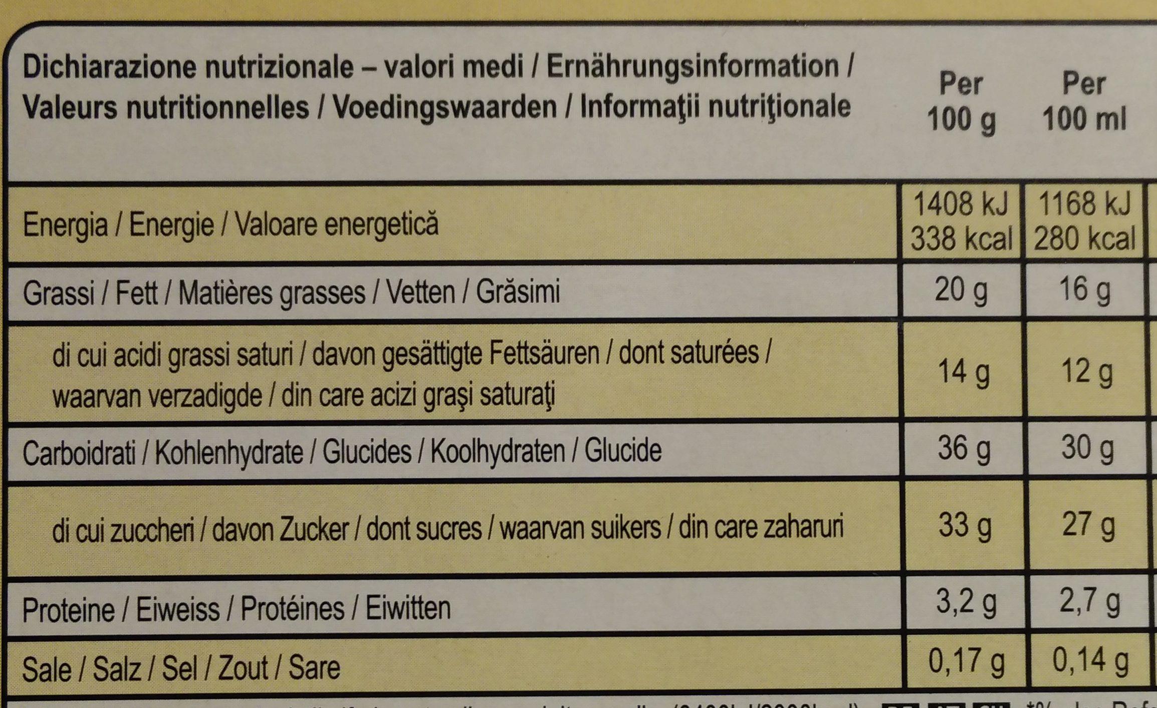 Double Caramel - Informations nutritionnelles