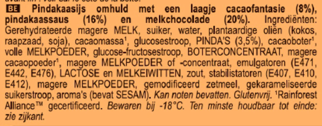 Magnum Glace Batonnet Mini Double Peanut Butter - Ingrediënten - nl