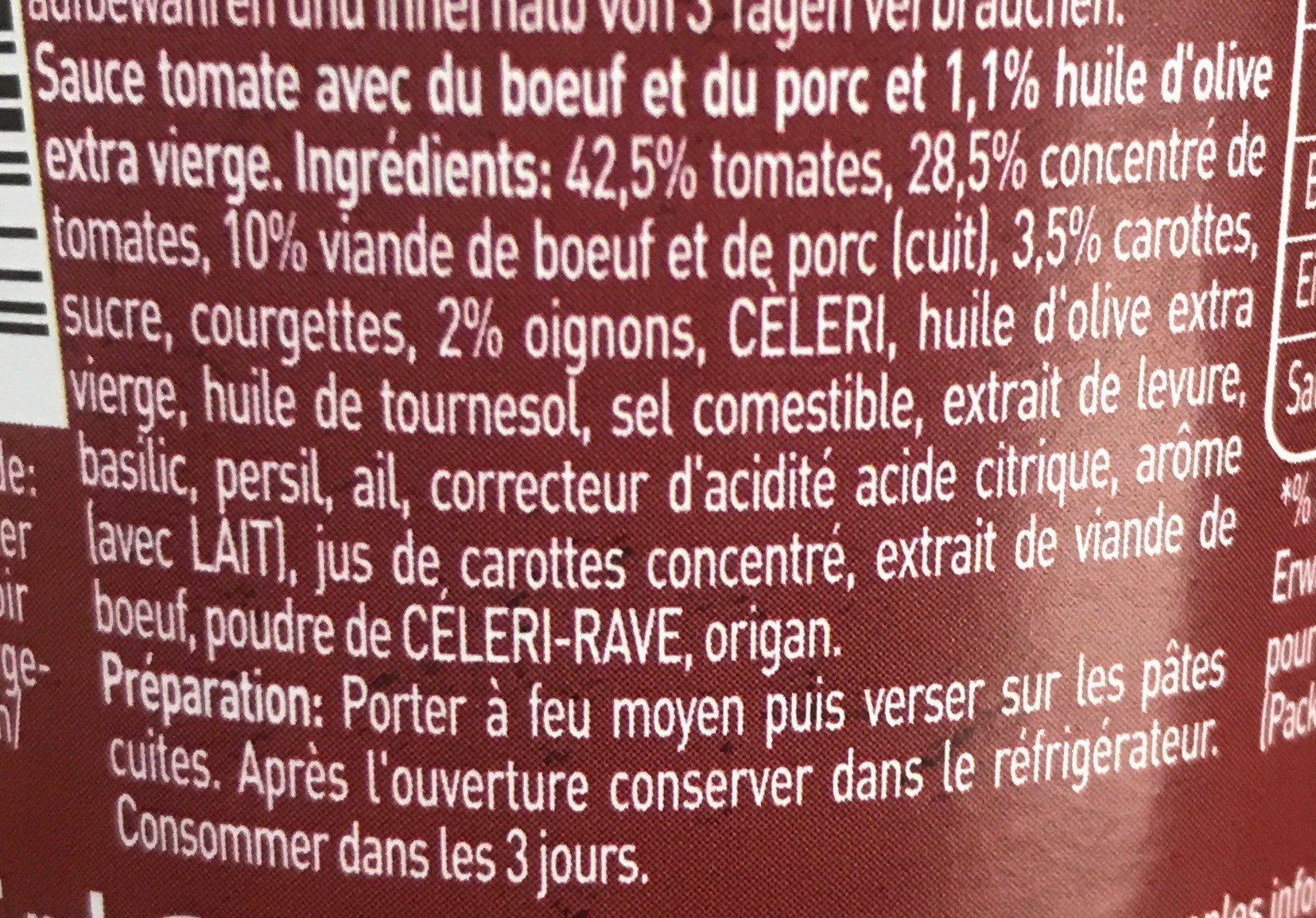 Bertolli - Ingrédients - fr
