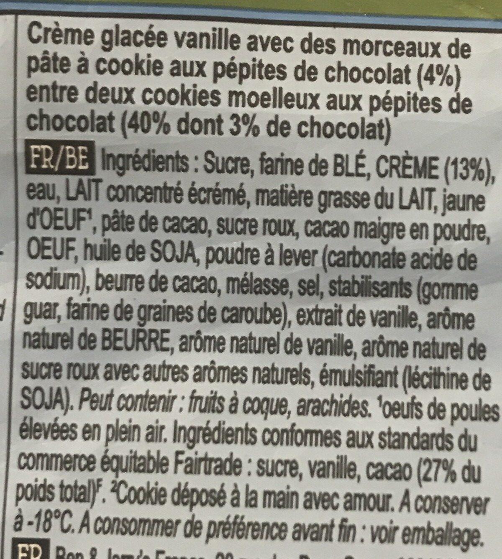 Jerry's Wich Cookie Dough Ice Cream Sandwich - Ingrediënten - fr