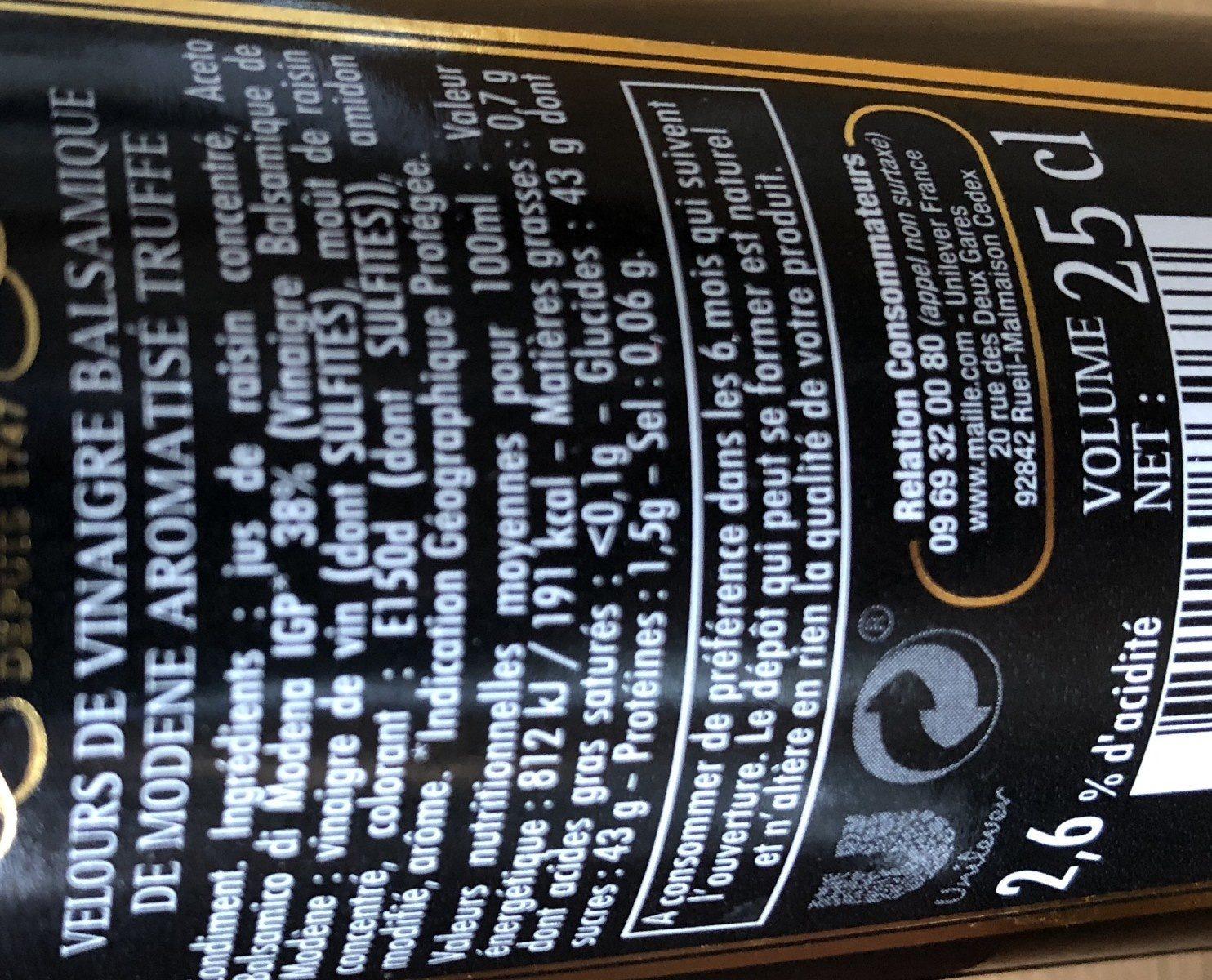 Maille Velours De Vinaigre Balsamique de Modène Saveur Truffe 25cl - Ingredienti - fr