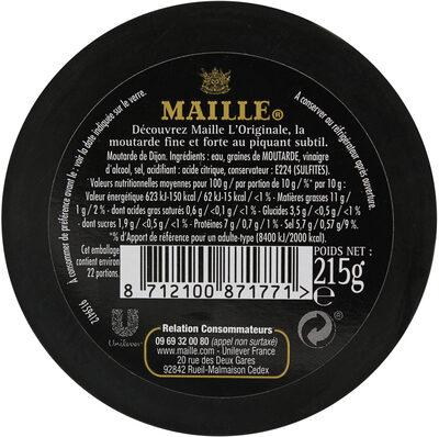 Maille L'Originale Moutarde Fine De Dijon Verre 215g - Informations nutritionnelles