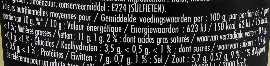 Maille Moutarde Fine de Dijon L'Originale Bocal - Informations nutritionnelles - fr