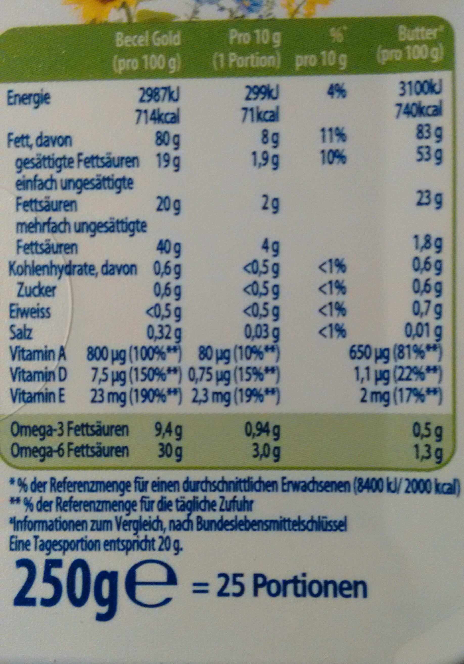 Becel Gold - Nutrition facts