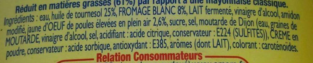 Amora L'Onctueuse Mayonnaise Légère Touche de Fromage Blanc Flacon Souple - Ingredients - fr