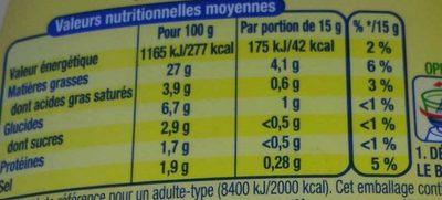 Amora L'Onctueuse Mayonnaise Légère Touche de Fromage Blanc Flacon Souple - Nutrition facts - fr