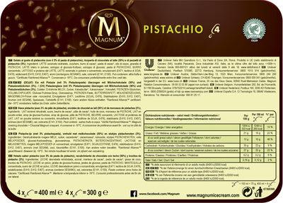 Magnum Batonnet Glace Pistache x4 400ml - Ingrédients - fr