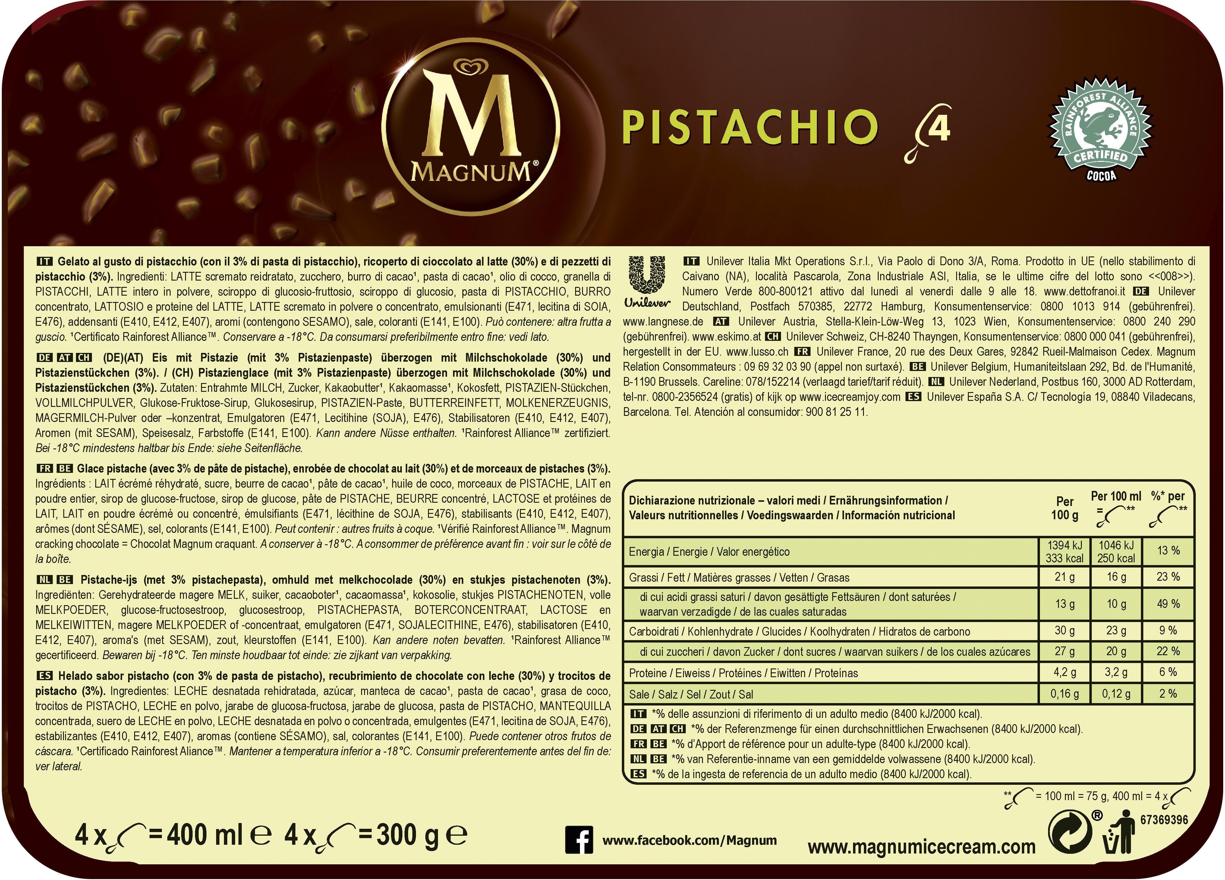 Magnum Batonnet Glace Pistache x4 400ml - Informations nutritionnelles - fr