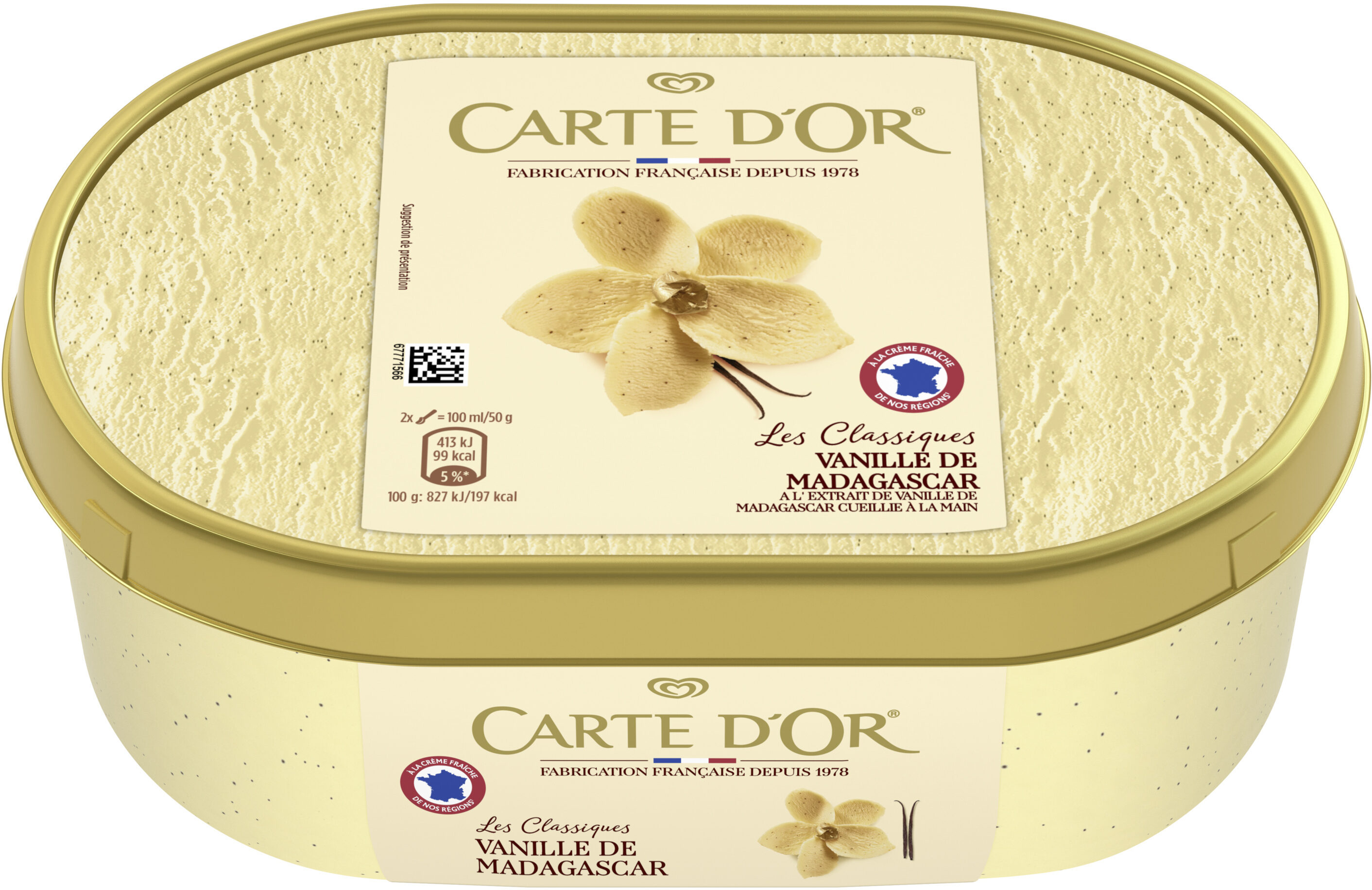 Carte D'or Les Authentiques Glace Vanille de Madagascar Bac - Prodotto - fr