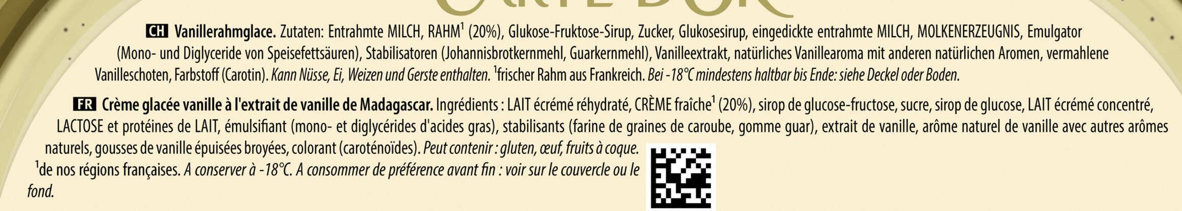Carte D'or Les Authentiques Glace Vanille de Madagascar Bac - Ingredienti - fr