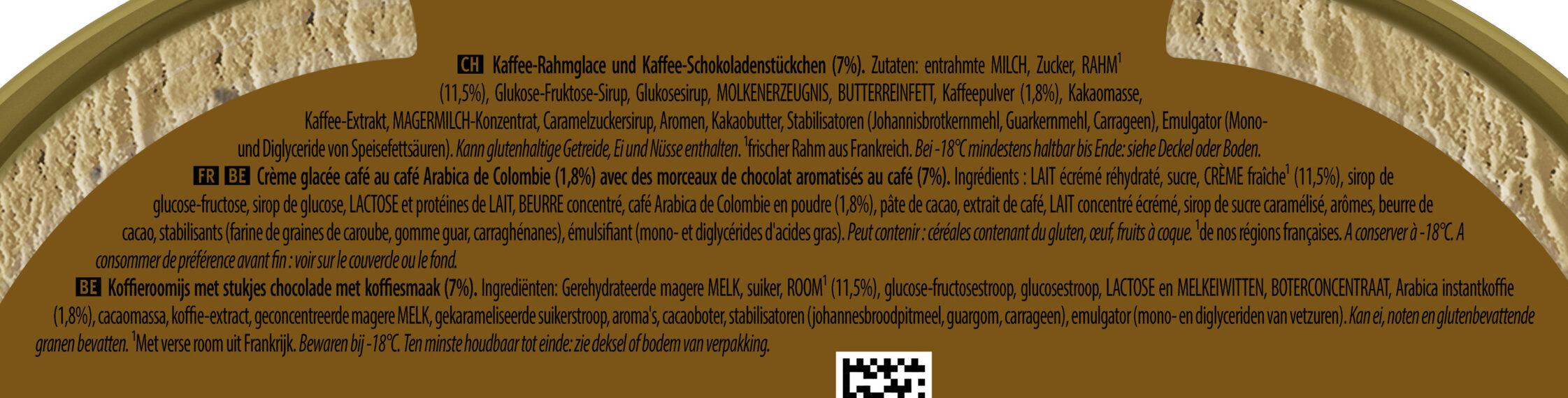 Carte D'or Les Authentiques Glace au Café Arabica de Colombie Bac - Ingredienti - fr