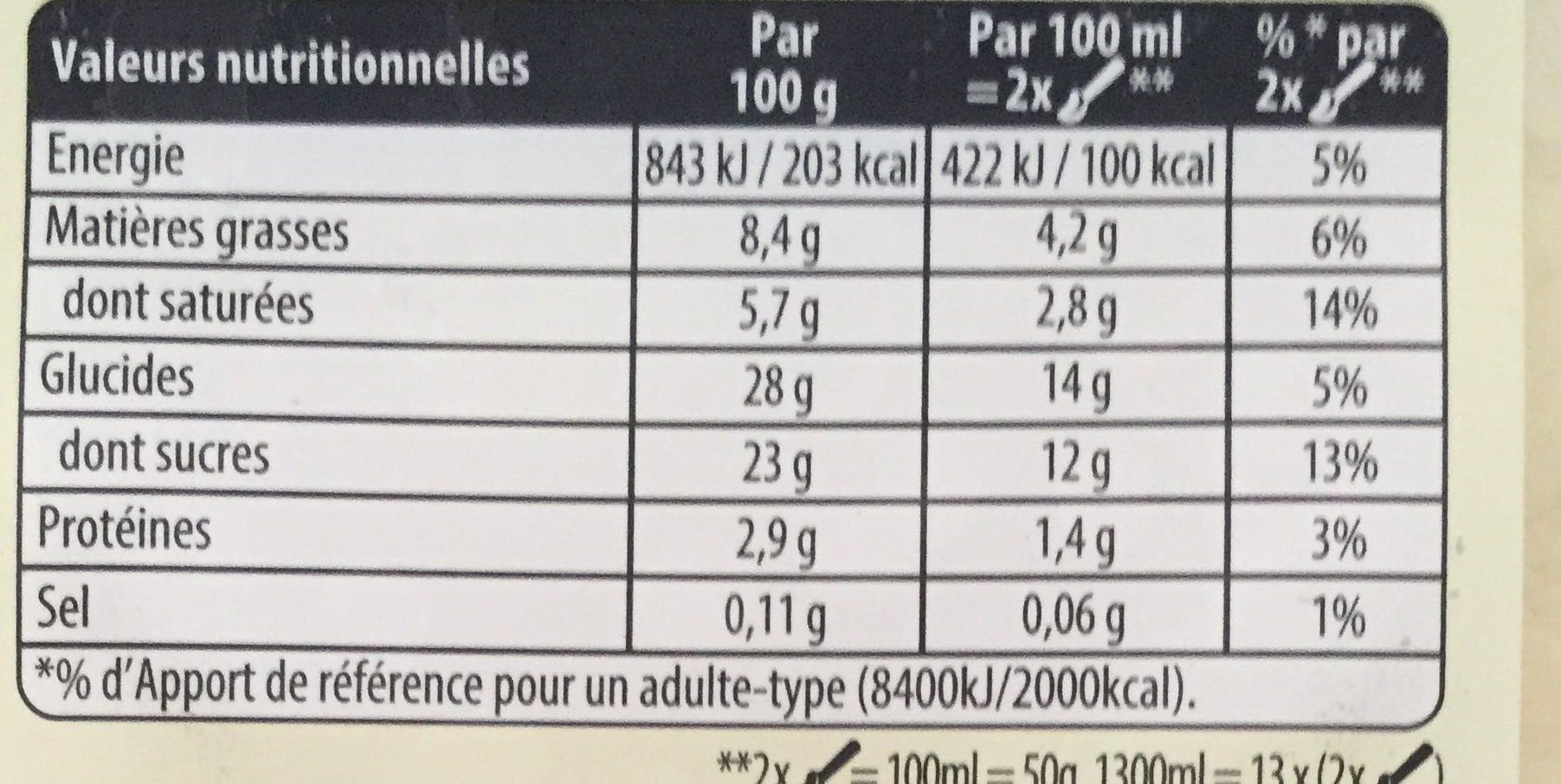 Glace à la vanille - Nutrition facts - fr