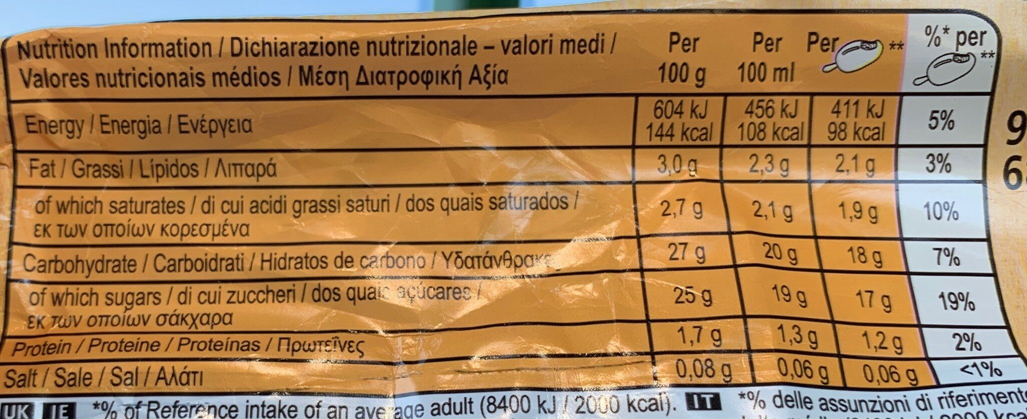 Glace Solero Exotic - Nutrition facts - fr