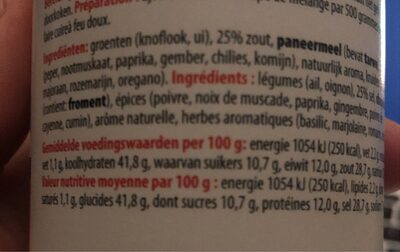 Spaghetti mix - Voedingswaarden