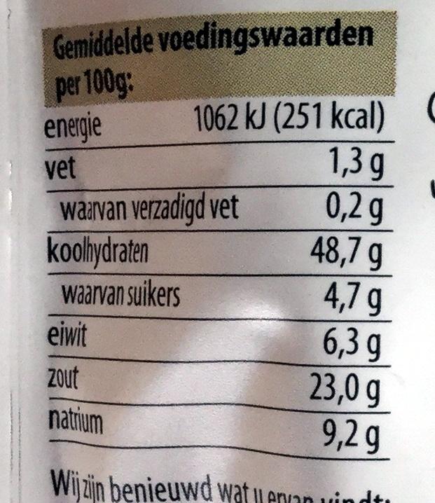 Mix voor hamburger - Voedingswaarden - nl