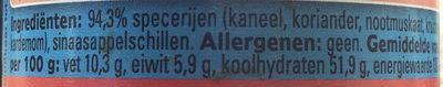 Koek & speculaas mix - Ingrediënten - nl