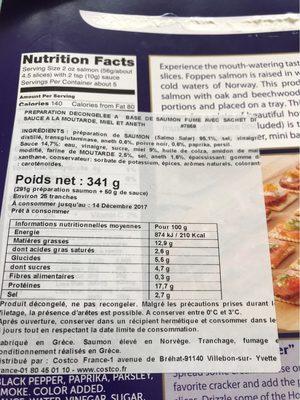 Smoked norwegian - Informació nutricional