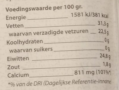 Jong Belegen - Nutrition facts - nl