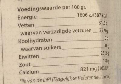 Belegen - Nutrition facts - nl