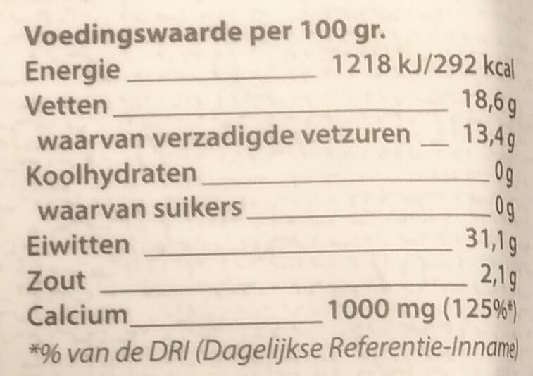 Belegen 30+ kaas - Nutrition facts - nl