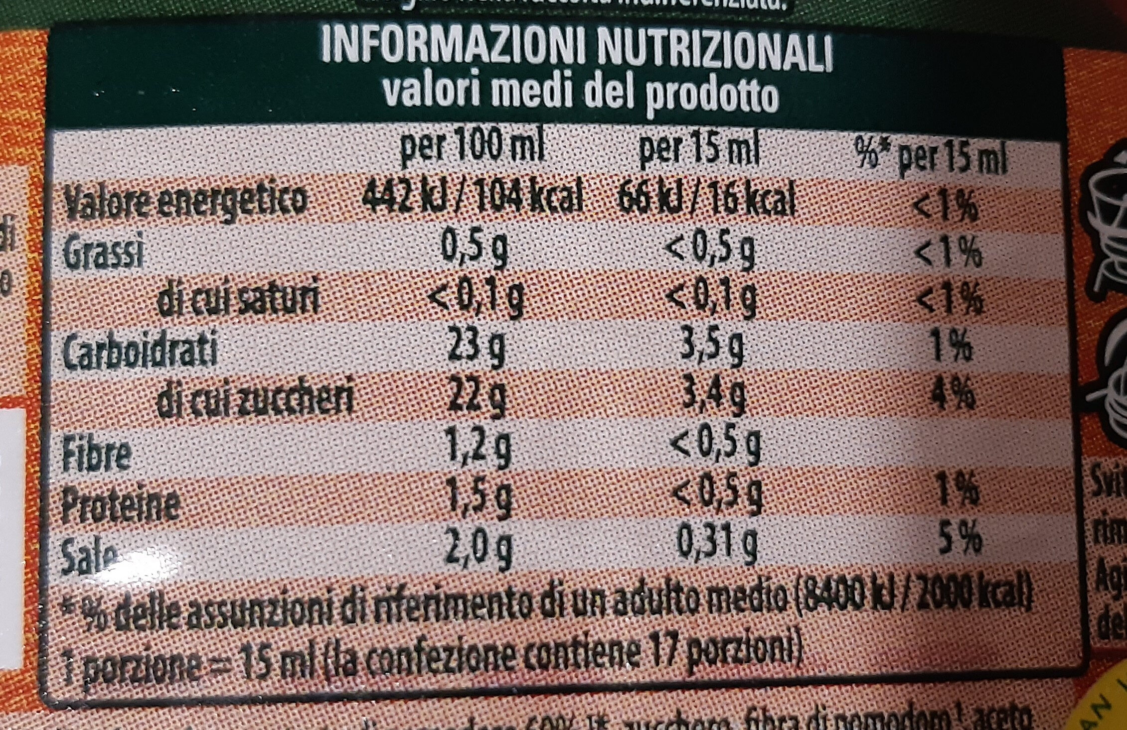 Ketchup Piccante - Nutrition facts - it
