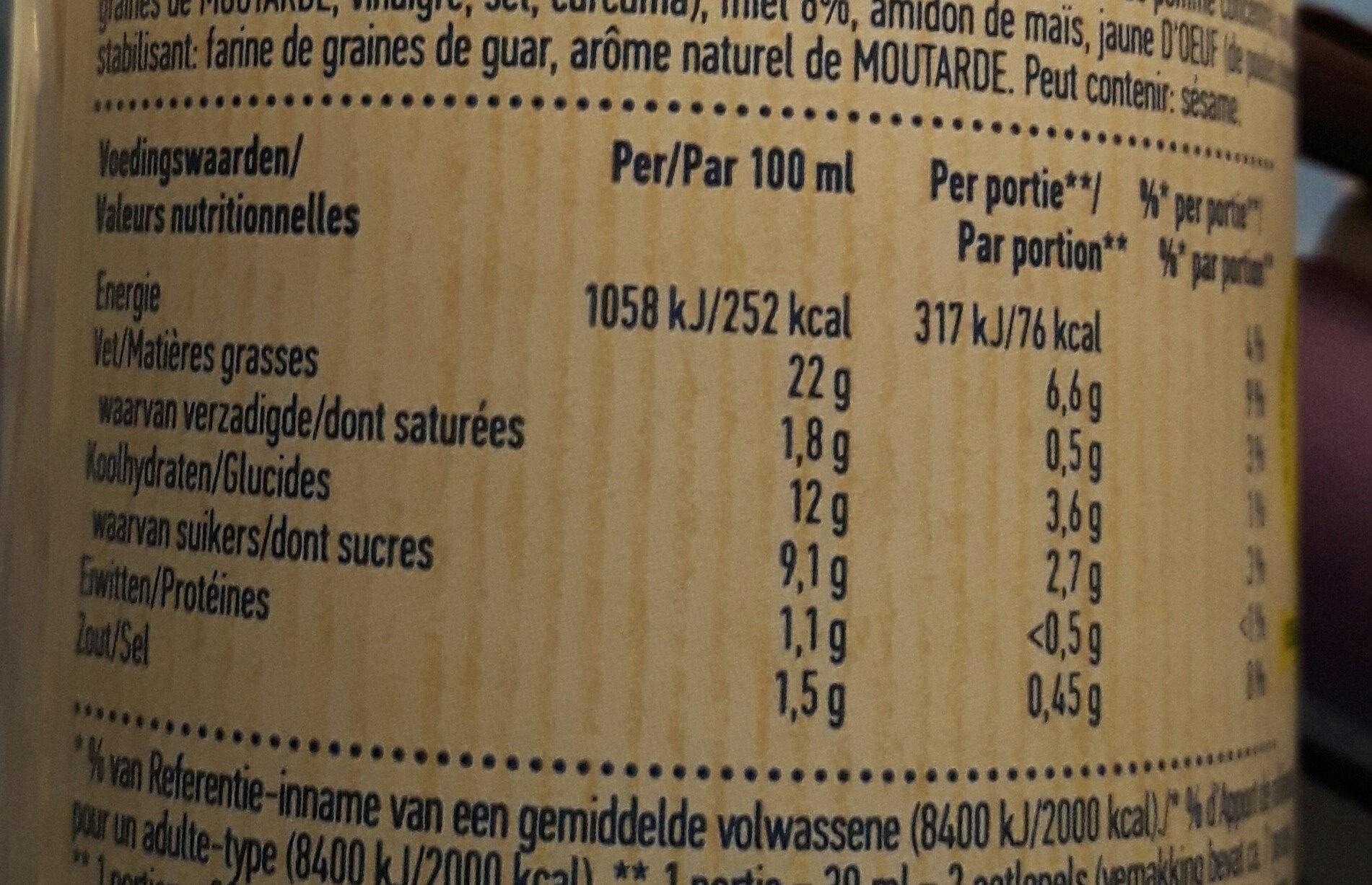 Honey and Mustard - Salad dressing - Voedingswaarden - fr