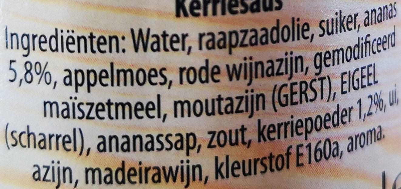 kerrie ananas saus - Ingredients - nl