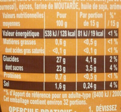 Sauce barbecue miel - Informations nutritionnelles