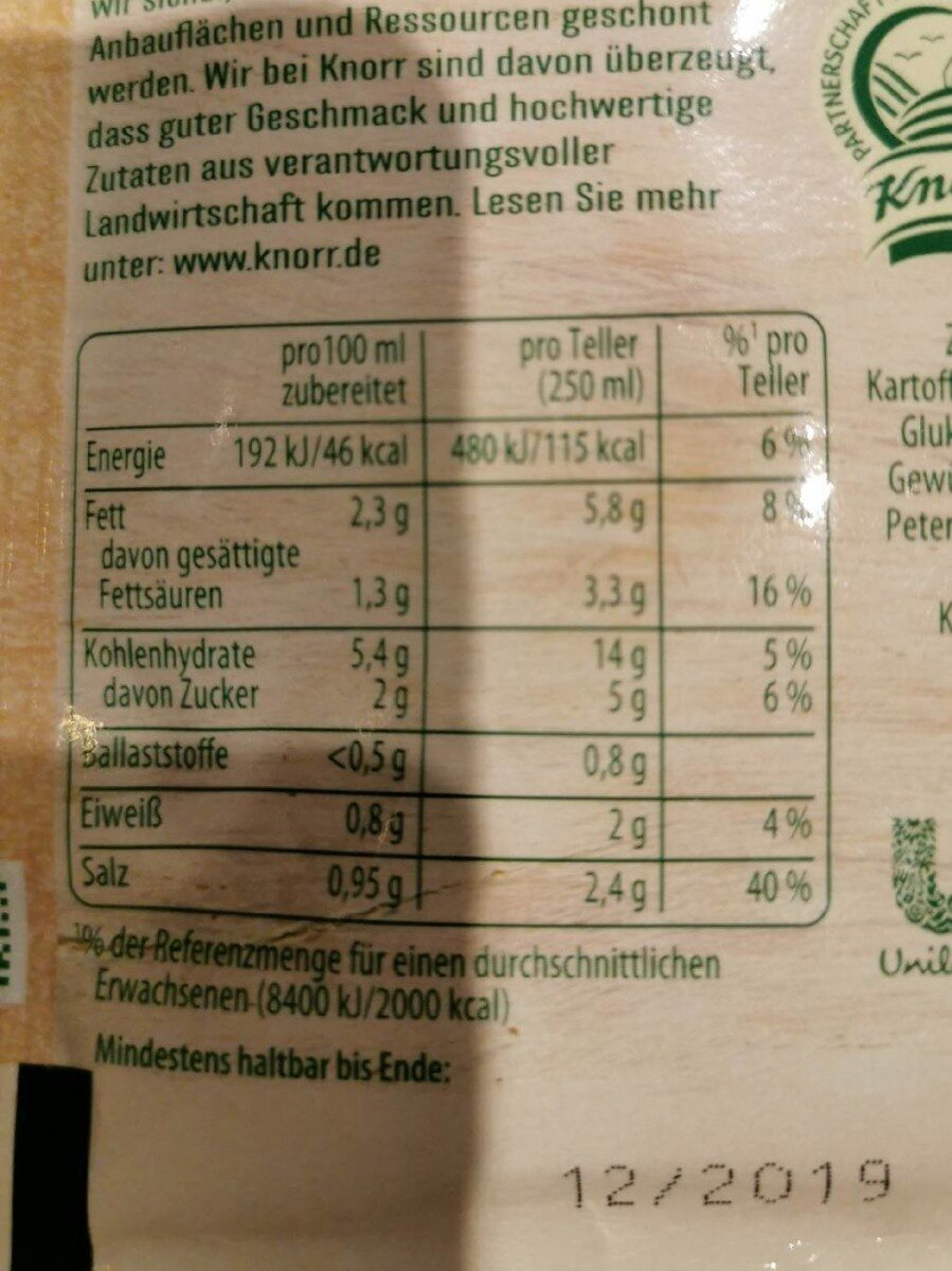 Kuerbis Cremesuppe - Informations nutritionnelles - fr