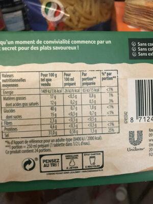 Bouillon légumes - Informations nutritionnelles