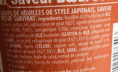 Nouilles japonaise saveur boeuf SUKIYAKI - Ingrédients - fr