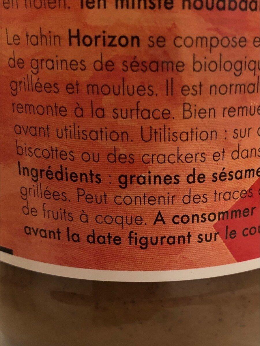 Horizon Tahin Sesampasta Eko - Ingredients - fr