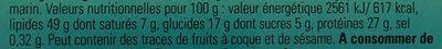 CRÈME DE CACAHUÈTES - Informations nutritionnelles