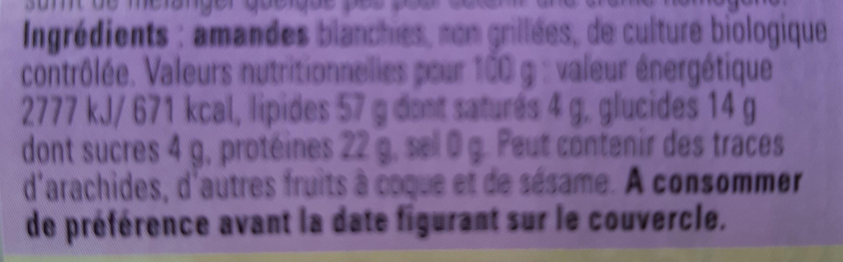 Weißes Mandelmus - Ingredients - de