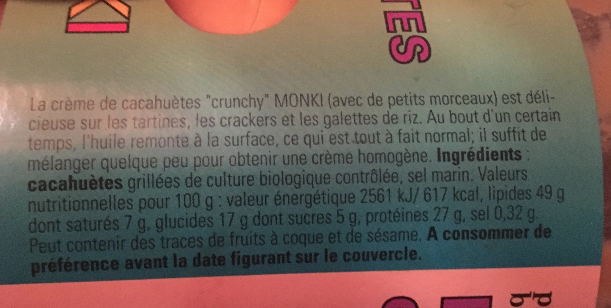 Monki Pindakaas Crunchy - Ingredients - fr