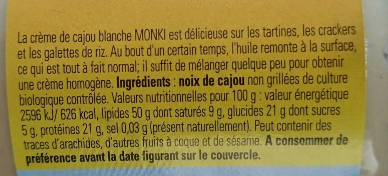 Monki crème de cajou blanche - Ingrediënten - fr