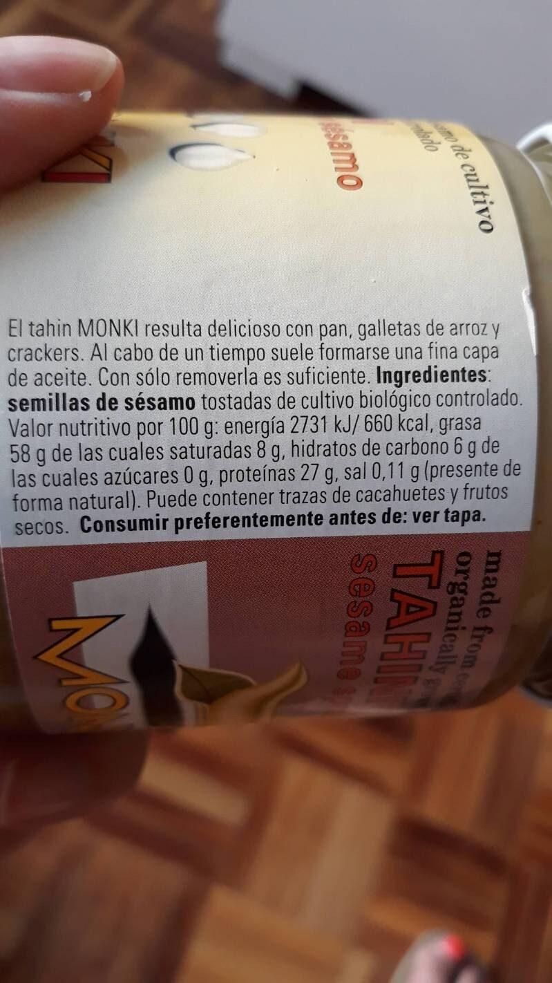 Tahín Crema de Sésamo - Información nutricional - es