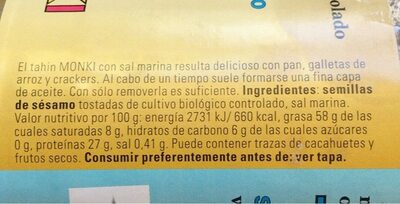 Tahin - Nutrition facts - es
