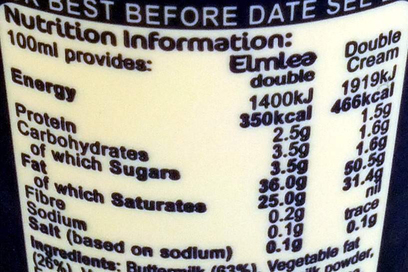 Double - Nutrition facts