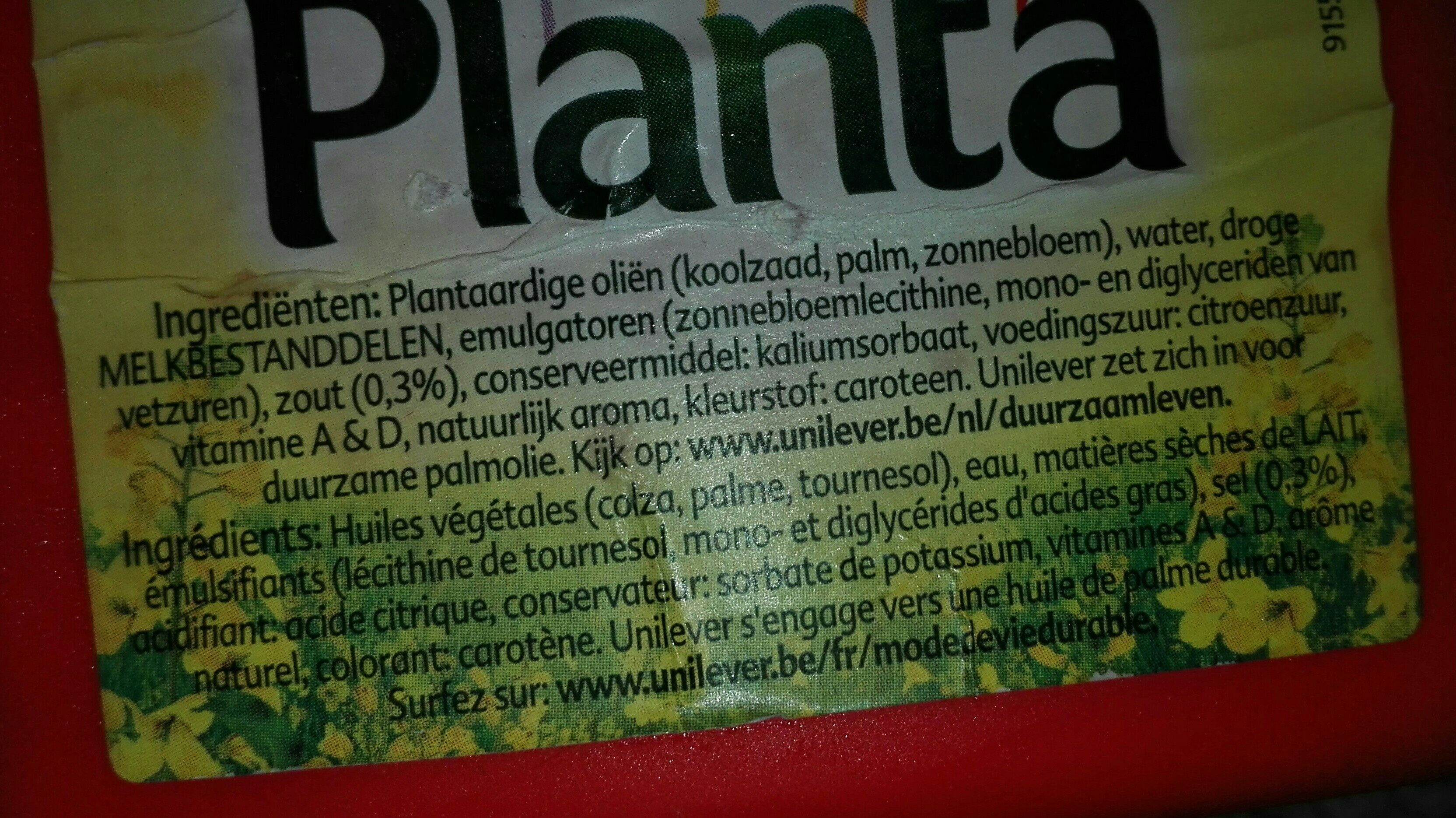 Margarine Planta - Ingrediënten