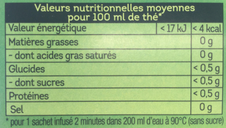Lipton Thé Vert Classique 50+5 Sachets - Nutrition facts - fr