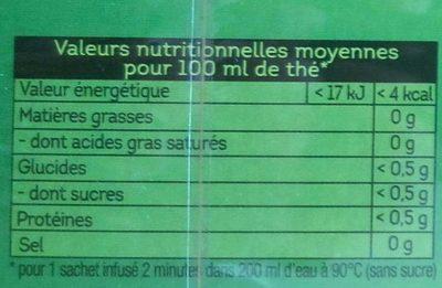 Lipton Thé Vert Menthe 50+5 Sachets - Nährwertangaben - fr