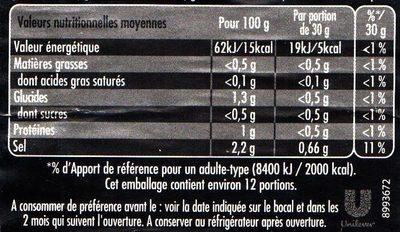 Maille L'Original Cornichons Mini Bocal - Informations nutritionnelles - fr