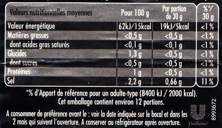 Maille L'Original Cornichons Mini Bocal - Nutrition facts - fr