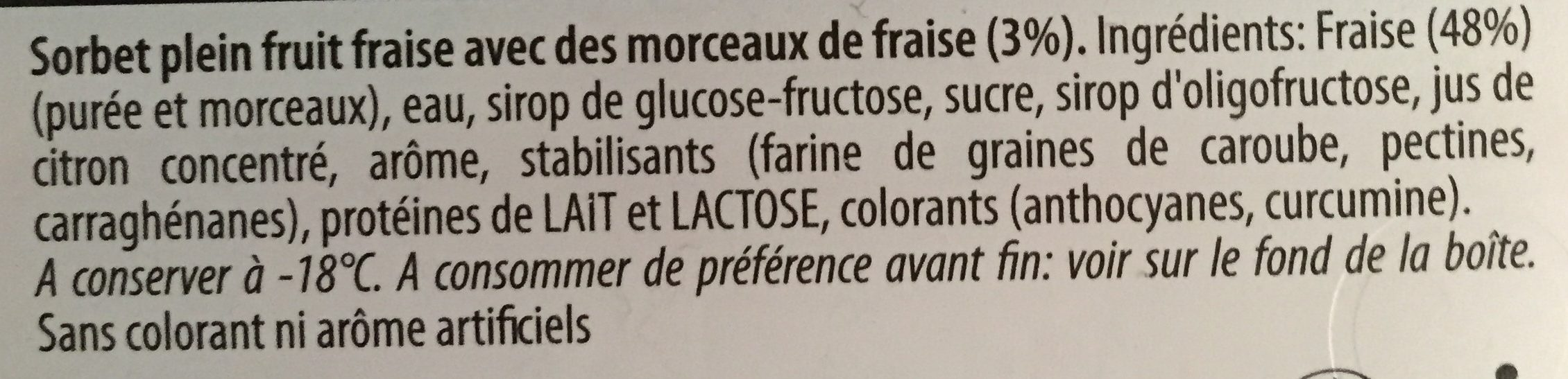 Sorbet Fraise - Ingredienti - fr