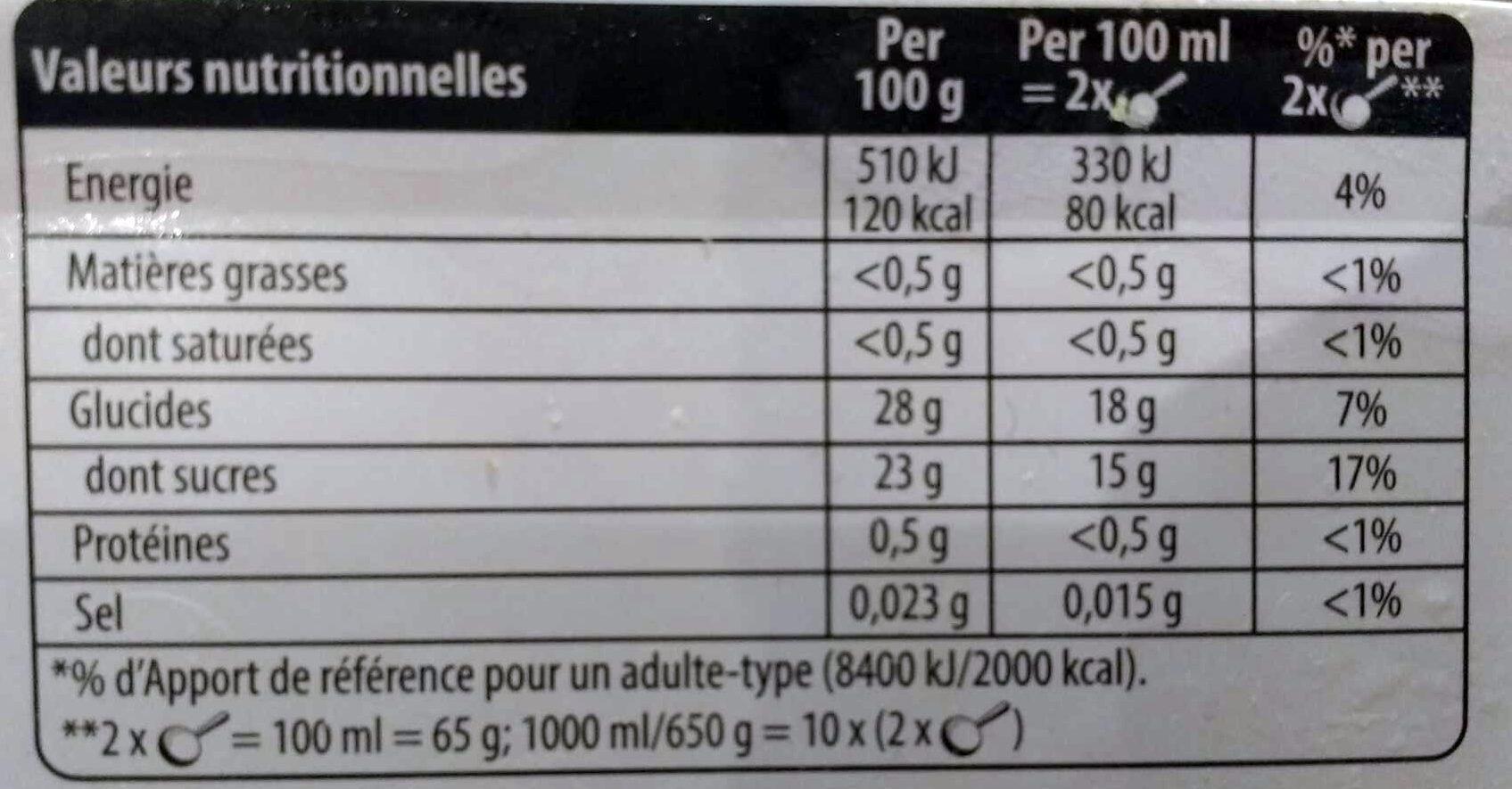 Sorbet Fraise - Valori nutrizionali - fr