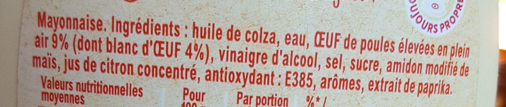 Amora Mayonnaise Recette Fouettée Flacon Souple 398g - Ingrédients - fr